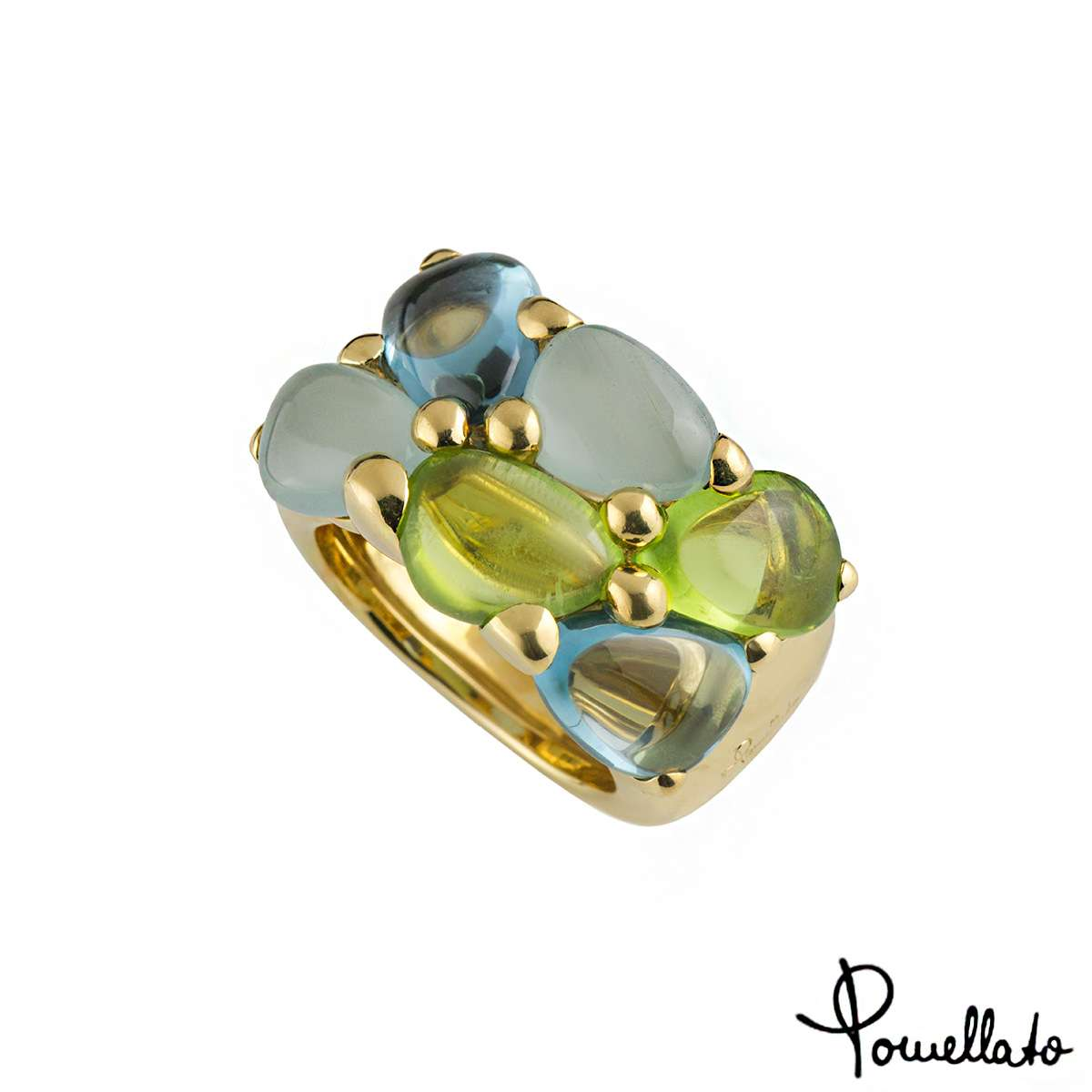 Pomellato 18k Yellow Gold Multi-Gemstone Saffi Ring